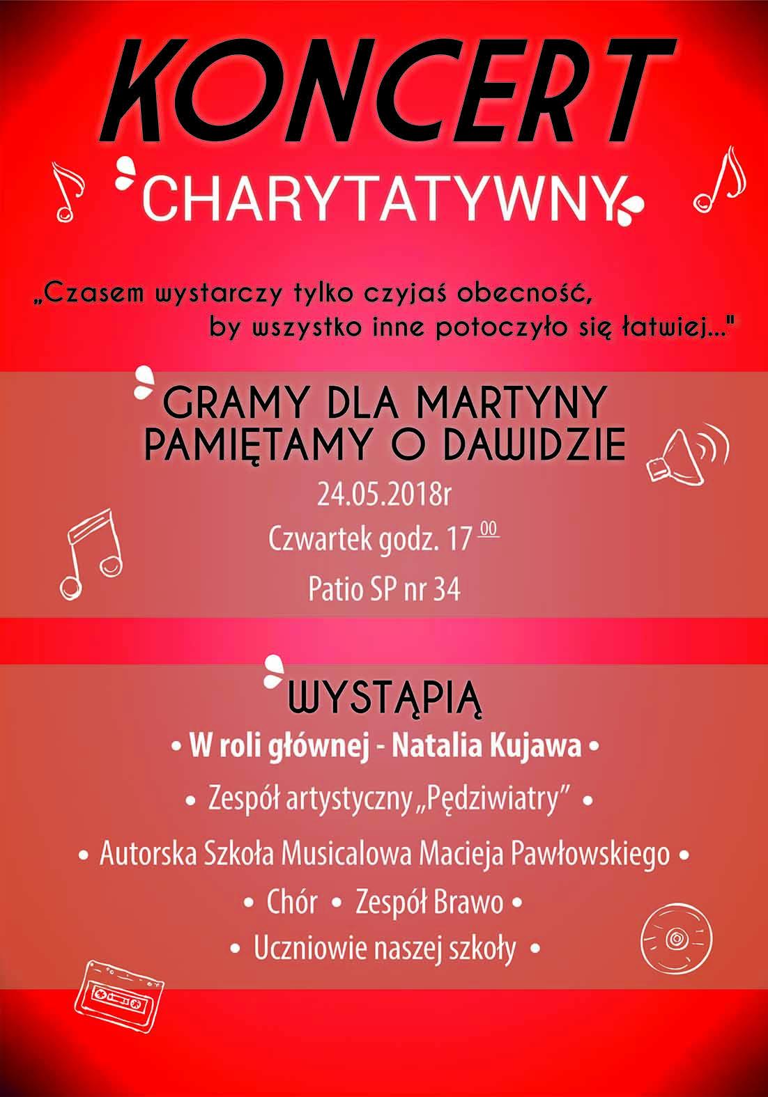 Plakat Koncert Charytatywny Szkoła Podstawowa Nr 34
